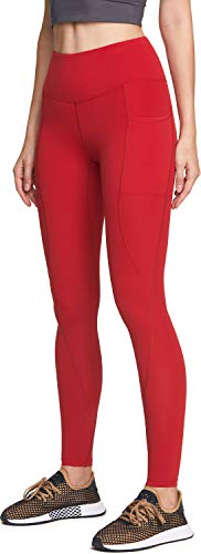 ATIKA Women's High Waist Yoga Pants with Pockets, Tummy Control Yoga Leggings, 4 Way Stretch Workout Running Tights, Ankle Yoga Pocket(yp714) - Red, Medium