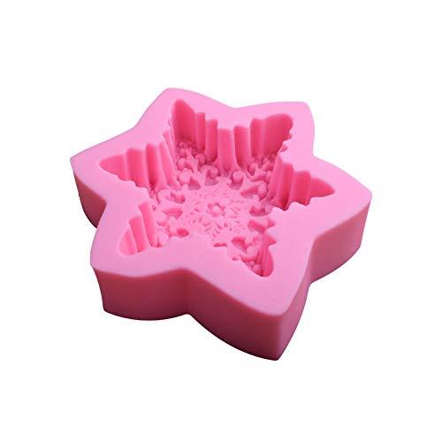 Ndier - Stampo tridimensionale a forma di fiocco di neve, in silicone, per dolci, per dolci, per torte, per alimenti, in silicone, non basta, gelatina, rosa