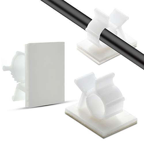 50pcs Adhesive Cable Clips, Wire Clips,Car Cable Organizer,Cable Holder,Cable Holder for Car,Home and Office(White)