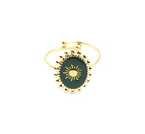 Oh My Shop BG763F ring, ovaal, email, dennengroen, motief zon en bolletjes, staal, goudkleurig
