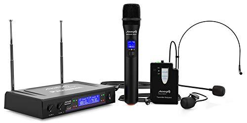 Audibax - Missouri 3000 - Micrófono Inalámbrico Profesional Doble - Set de 1 Micrófono de Mano y 1 Equipo de Petaca Diadema/Corbata - Rango de Cobertura 80 metros - Interruptor On/Off - Pilas Tipo AA