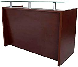 Mahmayi Harrera Modern Reception Desk, Apple Cherry/White, 103.5 x 65 x 140 cm, MER06-14APL