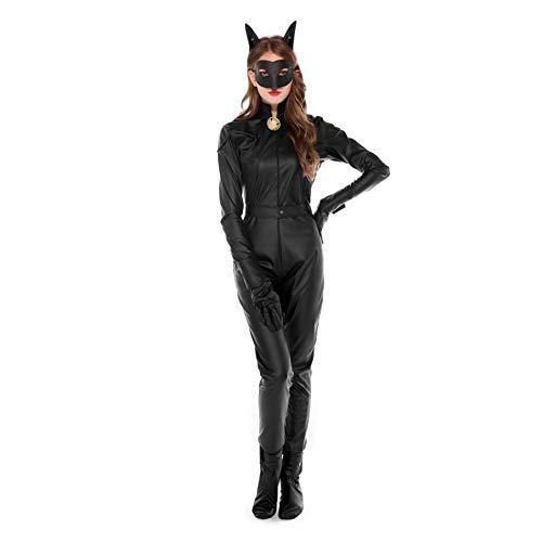 ZHANGCHNA Damen Halloween-Kostüme Katze Mädchen Plot Cosplay Cosplay Katzen Nachtclubs mit Schwanz, Schwarz, UK 16