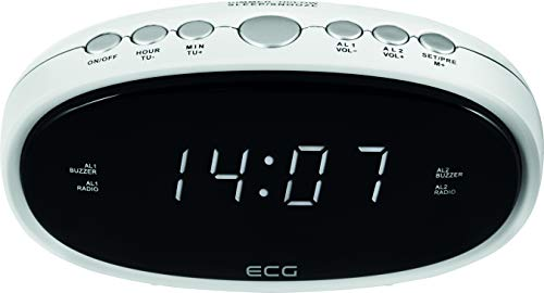 ECG RB 010 White Radiowecker – FM Tuner; 10 Vorwahlen; Digitale Uhr/Wecker; Wecken durch Radio/Wecker; Funktion aufgehobene Weckzeit; Ausschalt-Timer Weiß, 1