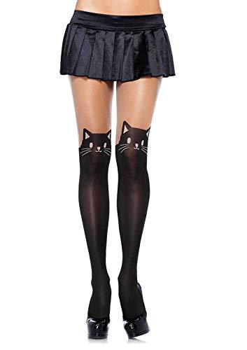 Leg Avenue 7908 - ondoorzichtige panty met kattenprint, zwart/nude, eenheidsmaat (EUR 36-40), dames carnaval kostuum carnaval