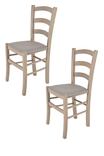 Tommychairs - Set 2 chaises Venice pour Cuisine, Bar et Salle à Manger, Robuste Structure en Bois de hêtre peindré en Aniline Grise Claire et Assise rembourrée et revêtue en Tissu Couleur Chamois