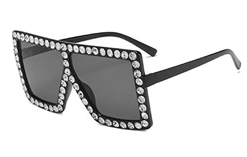 WANGZX Gafas De Sol Negras Retro para Mujer Gafas De Sol Cuadradas con Diamantes De Moda Gafas De Sol Grandes para Mujer Gafas De Viaje Uv400 Blackwcrystal