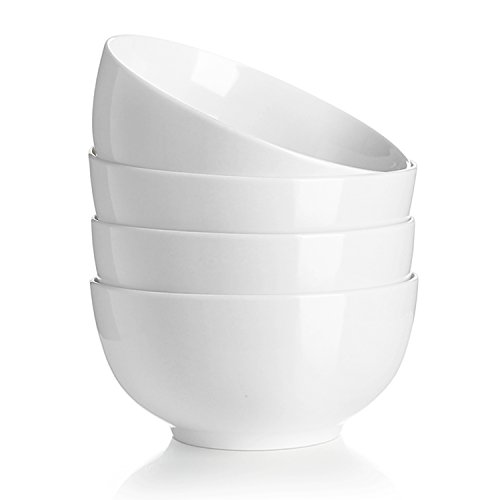 Teocera 22 Ounce Porcelain Bowls, Cereal Soup Bowls Set - Stable Well and Easy to Hold - Set of 4, White