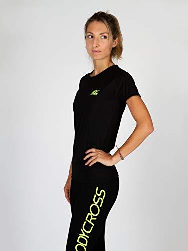 BODYCROSS Maillot Manches Courtes Col Rond Femme Paz Noir Running, Jogging, Training - Léger, Respirant, Anti-Bactéries et Anti-Odeurs