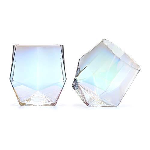 CKB Ltd Glänzende Diamantgläser, abgewinkelt, 2 Stück, Regenbogenglanz, Metallic, für Whiskey, Scotch, Brandy, Cocktailglas
