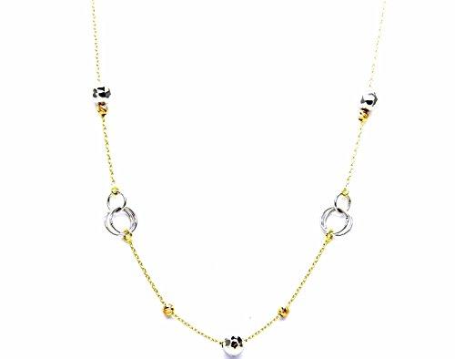 Collana Oro Bianco Giallo 18kt (750) Catenina Collier Fantasia Girocollo Bicolore Cm 45 Donna Ragazza