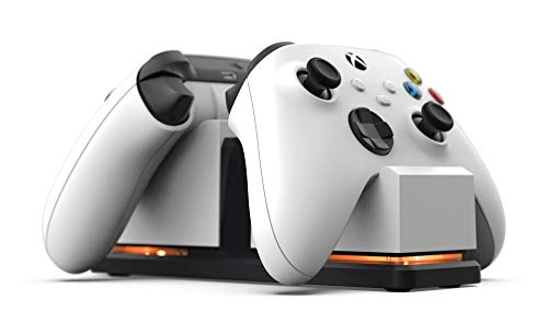 PowerA Dual Charging Station for Xbox - White with Black Base, Wireless Controller Charging, Charge, Rechargeable Battery, Xbox Series X S, Xbox One - Xbox Series X