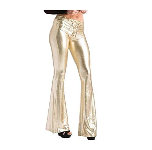 XinXinFeiEr Estiramiento La Piel Brillante Casuales Pantalones Acampanados Pantalones Casuales Personalidad De La Moda Cruz De Atado Casual (Color : Golden, Size : L)