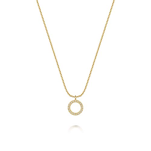 Women's 18ct Gold Vermeil Necklace, Olivia Cooper Sienna Circle of Life Cubic Zirconia Pendant, 42cm+5cm, Luxury Jewellery Packaging, Mother's Day Birthday Anniversary Present