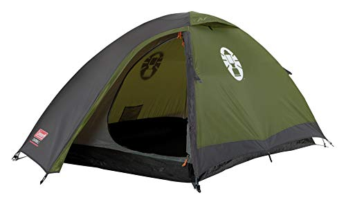 Coleman Unisex Adult, Darwin 2 Tent, Compact 2 Man Dome Tent, also Ideal for Camping in the Garden, Lightweight 2 Person Camping and Hiking Tent, Waterproof, Sewn-in Groundsheet, Green/Grey