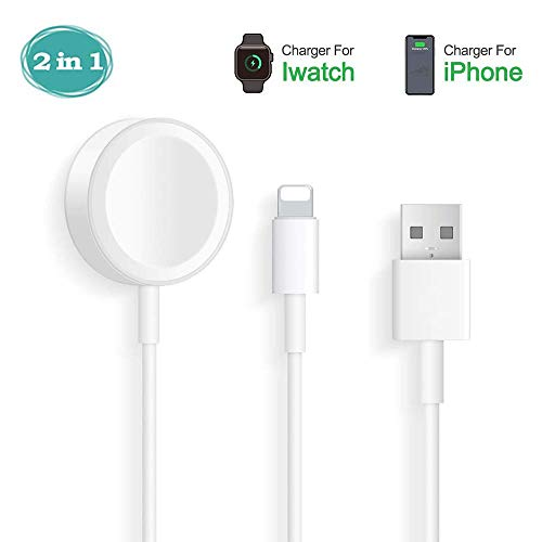 Hoidoly iWatch Cargador, 2 en 1 iWatch Cable para Apple Watch Series 5/4/3/2/1, Cable de Carga portátil para i Phone se/11/11 Pro MAX/X/XR/XS/6/7 /8 / i Pad Air/i Pad Mini