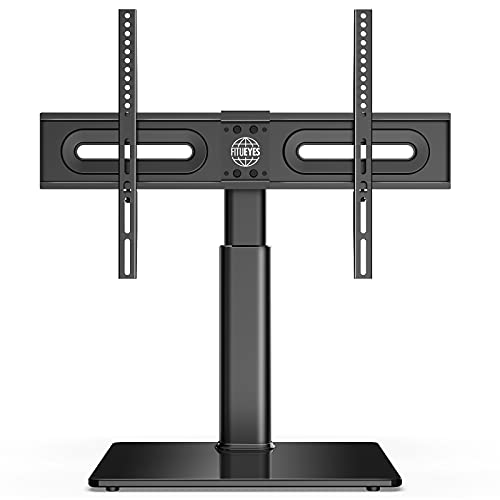 FITUEYES Universal TV Stand/Base Tabletop TV Stand with Swivel Mount for 32 to 65 inch Flat Screen TV Height Adjustable,Tempered Glass Base