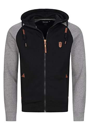 Indicode Herren Arbutus Kapuzensweatjacke   Hooded Jacket Kapuzenjacke Hoodie mit Reißverschluss Kapuzenpullover mit Zipper Sweatjacke mit Kapuze Kapuzensweatshirt für Männer Black XL