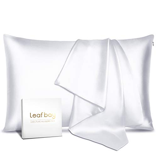 100% Pure Mulberry Silk Pillowcase for Hair & Skin - Allergen Proof Dual Sides 600 Thread Count Silk Bed Pillow Cases with Hidden Zipper,1 Pack Standard Size