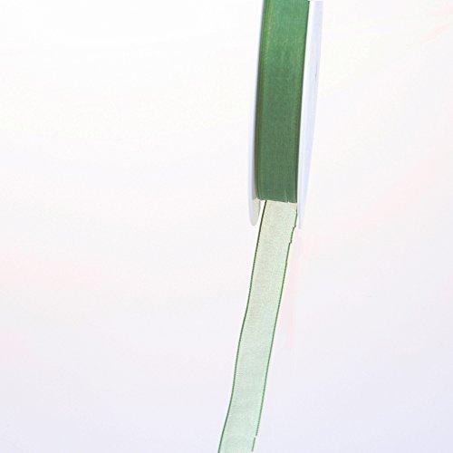 Deko und Band 53736 – Ruban d'organza avec webkante – 15 mm 50 m Col. 27 Vert foncé – 53736–15–50–27