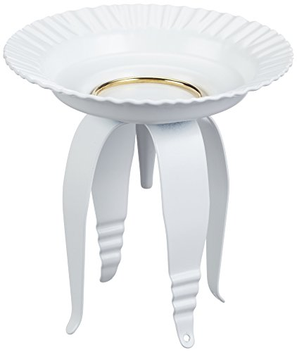 RAYHER 2514202 Kandelaar voor doop-/communiekaarsen, metaal, 11 cm diameter, 12 cm hoog, wit