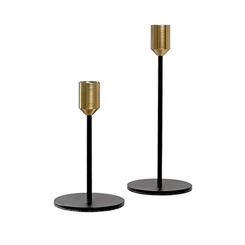 Owl's-Yard Modern Style Gold Black Metal Candlesticks, Candle Holder Holder Cone Candle Holder, Used For Wedding Decoration, Home Decoration, Table Decoration, Bar Party Candlestick Holders (S+L)