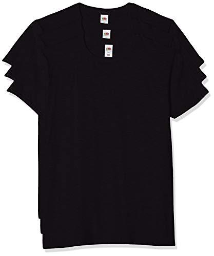 Fruit of the Loom Iconic, Lightweight Ringspun Tee, 3 Pack T-Shirt, Nero (Black 36), XXX-Large (Pacco da 3) Uomo