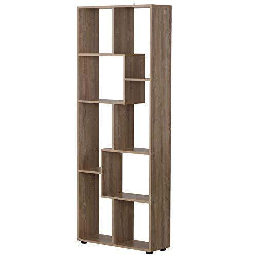 homcom Libreria in Legno Design Moderno, 8 Ripiani (10kg/per Mensola), Anti-Ribaltamento, per Salotto/Camera 70x24x178cm