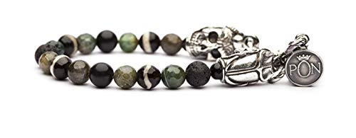 PORTONOVO Pulsera de un solo giro para hombre, serie Scarabeo con piedras volcánicas, camuflaje y plata de grosor bra 04_1107