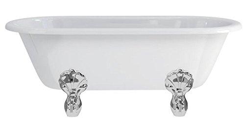 Casa Padrino Jugendstil Badewanne freistehend 1700mm BWin Weiß - Freistehende Retro Antik Badewanne, Badewannen Füsse:Luxury Classic Silber