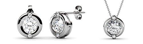 Yolora sieraden set met Swarovski kristal - Ketting met hanger en bijpassende oorbellen - Oorstekers - Geschenkset dames - Zilverkleurig - YO-006