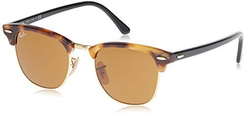 Ray-Ban Unisex Clubmaster Sonnenbrille, Mehrfarbig (Gestell: braun/schwarz(Havana,Tortoise) Glas: braun 1160), Small (Herstellergröße: 49)