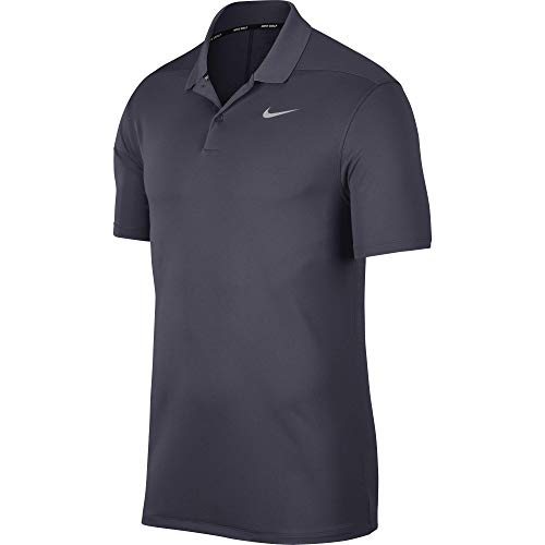 Nike Men's Dry Victory Polo Solid Left Chest, Gridiron/Flight Silver, Medium