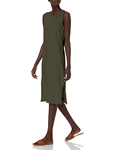 Daily Ritual Women's Lived-in Cotton Relaxed-Fit Muscle-Sleeve Midi Dress, Olive, Small