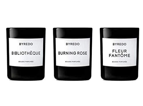 Byredo La Sélection Violette - Mini Candle Trio - Burning Rose, Fleur Fantôme, Bibliothèque 3x 70G