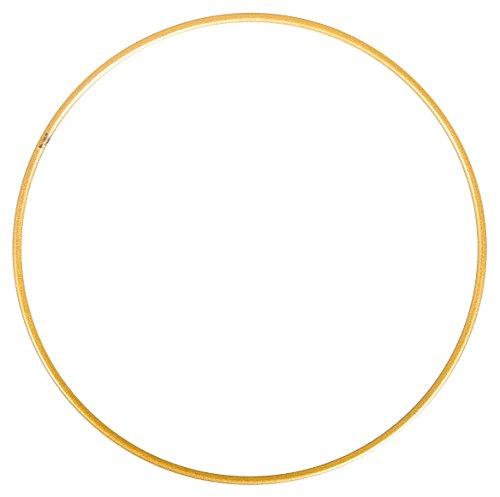 Rayher 2505106 Metallring, gold beschichtet, 15 cm ø, Stärke ca. 3 mm, Drahtring zum Basteln, für Wickeltechnik, Traumfänger Ring, Makramee Ring, Floristik