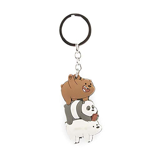 LevinArt 4 Arten We Bare Bears Schlüsselbund Grizzly Panda Eisbär Cartoon Figuren Spielzeug niedlichen Anhänger Schlüsselanhänger Chaveiro Mädchen Kinder Schmuck (2)