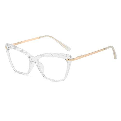 Crystal Cat Eye Glasses Frame for Women Non-Prescription Eyeglasses With Clear Lens