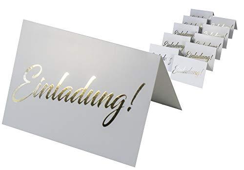 codiarts. 10 Einladungskarten + 10 Umschläge weiß, Einladung als goldene glänzende Heißprägung, Einladung für Hochzeit, Geburtstag, Firmung, Geburtstag, Party, Jubiläum (Karte A6 zum aufklappen)
