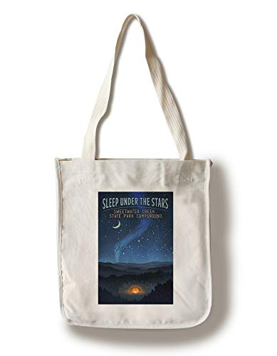 Sweetwater Creek State Park Campground - Sleep Under the Stars - Tent and Night Sky 106368 (100% Cotton Tote Bag - Reusable)