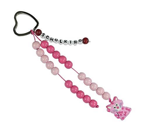 Pracht Creatives Hobby 5935-12151 - Rechenkette zum Selbstgestalten, mit Schlüsselanhänger, Schulkind rosa-pink, Bastelset mit 20 Rechenperlen, als Geschenk zur Einschulung, für die Zuckertüte