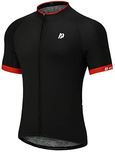 PTSOC Men's Basic Cycling Reflective Jerseys Tops Biking Short Sleeve Bike Clothing Full Zipper Bicycle Jerseys with 3 Rear Pockets Black Medium