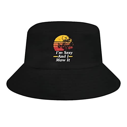 AUDNEDB Vintage cortacésped cubo sombrero de sol para mujeres hombres verano ancho sombrero pescador sombrero negro