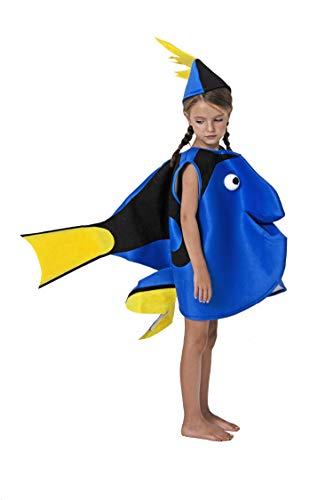 Gojoy Shop- Disfraz de Pez Azul para Niños y Niñas Carnaval (Contiene Sombrero y Disfraz, 4 Tallas Diferentes) (7-9 AÑOS)