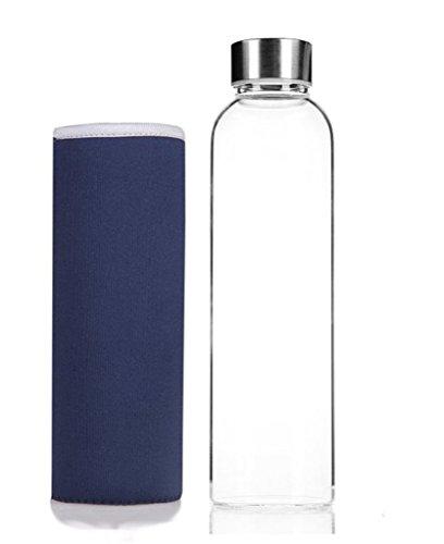Hmilydyk Trinkflasche aus Glas, stilvolle, tragbare Wasserflasche, GUGLASSBOT-blue-550, 550ml