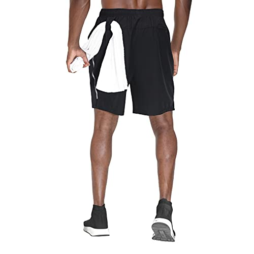 HMIYA Herren Sporthose Kurz Schnell Trocknender Sport Shorts Atmungsaktiver Jogginghose Fitness Training mit Taschen Reißverschluss(Schwarz,EU-XL/US-L)