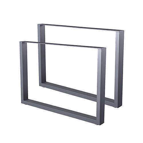 Zelsius Tischbeine Tischkufen Tischgestell 2 Stück Metall Kufen Rohstahl oder Grau I verschiedene Größen I Industrie ((B) 100 x (H) 72 cm, Grau (Pulverbeschichtung))