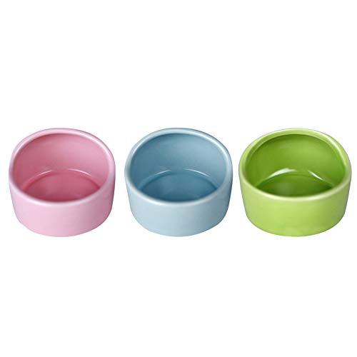 Balacoo 3 Stück Hamster Futterschalen Keramik Tierschalen Futter Und Wasser Wasserschale für Maus Hund (Zufällige Farbe)
