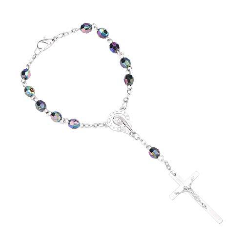 GuDeKe 6 mm Perlas de Resina Cruz de aleación Pulsera Religioso Cristianismo Virgen María Jesús Color Aurora Pulsera de Rosario