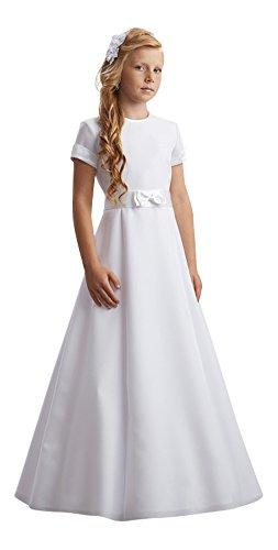 deine-Brautmode Kommunionkleid Kleid Kommunion Schleife Satin edel schlicht, Reifrock Unterrock, Anna 140